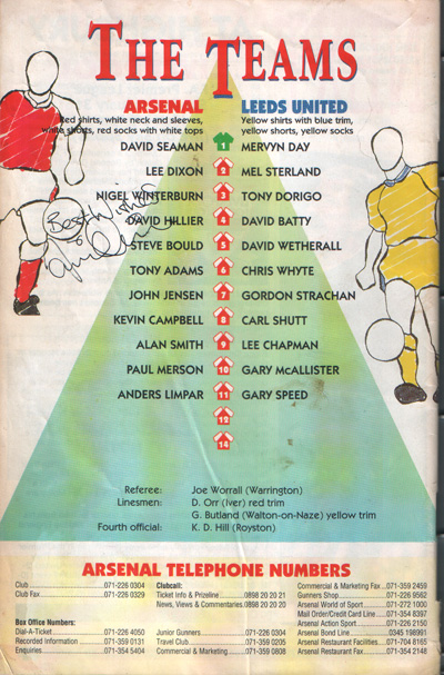Arsenal v Leeds Utd. FA Cup 4th Round 1993 - went on that season to win the trophy